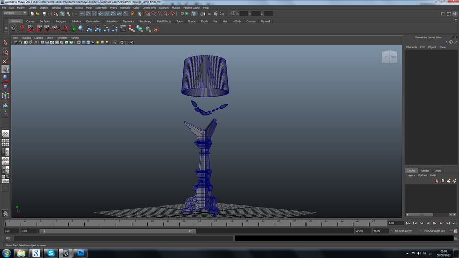 Lampa Kartell Bourgie royalty-free 3d model - Preview no. 9