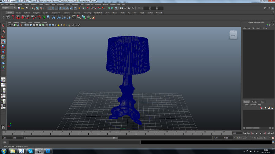 Lampa Kartell Bourgie royalty-free 3d model - Preview no. 5