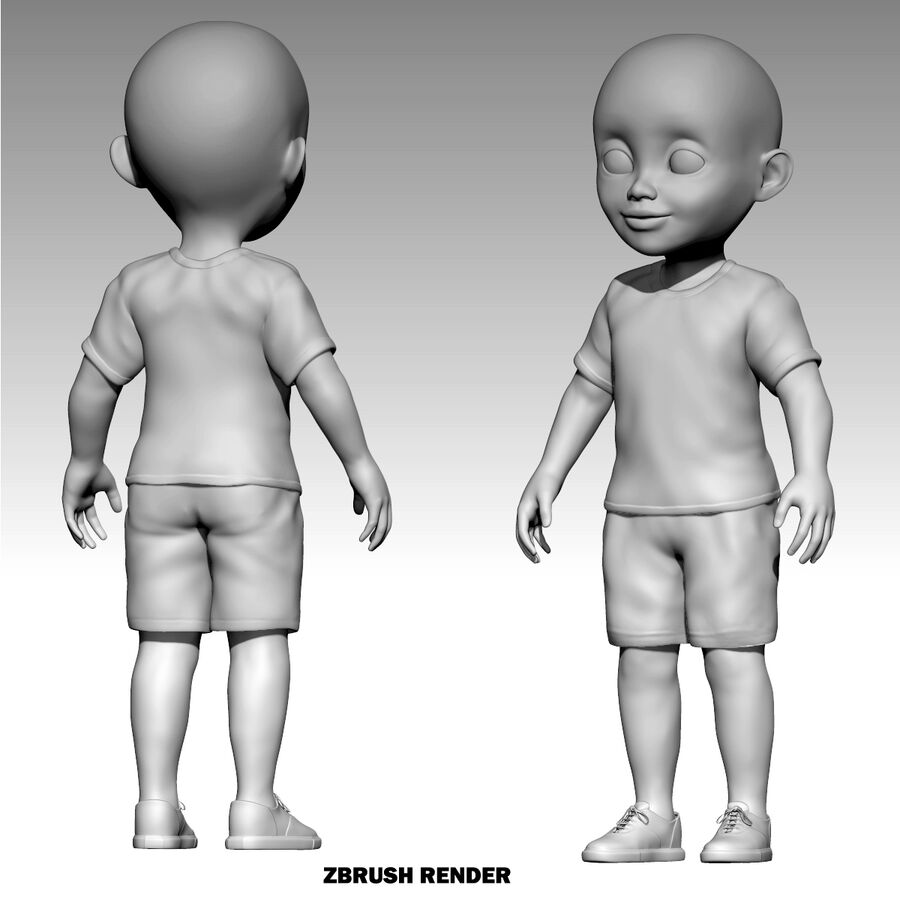 Mark Child Boy Rigged Character royalty-free 3d model - Preview no. 6