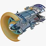 Flugzeug-Jet-Turbine 3 3d model
