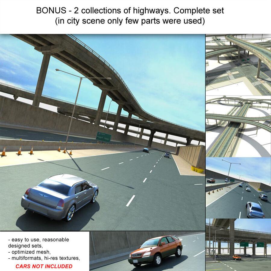 Город HD Городской пейзаж с шоссе royalty-free 3d model - Preview no. 32