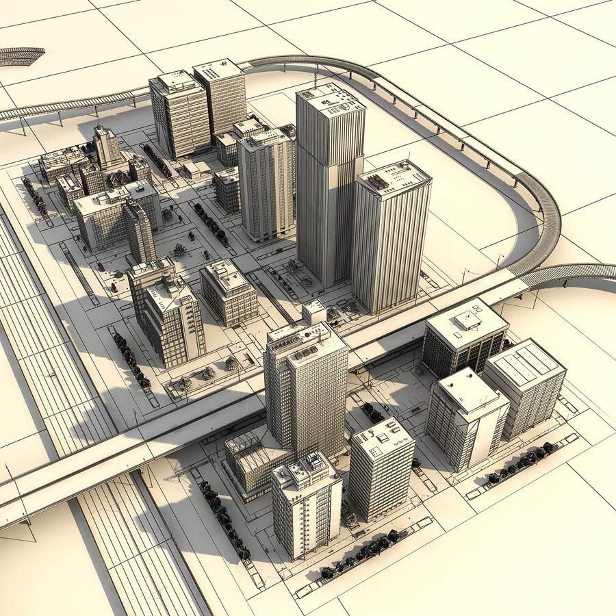 Город HD Городской пейзаж с шоссе royalty-free 3d model - Preview no. 27