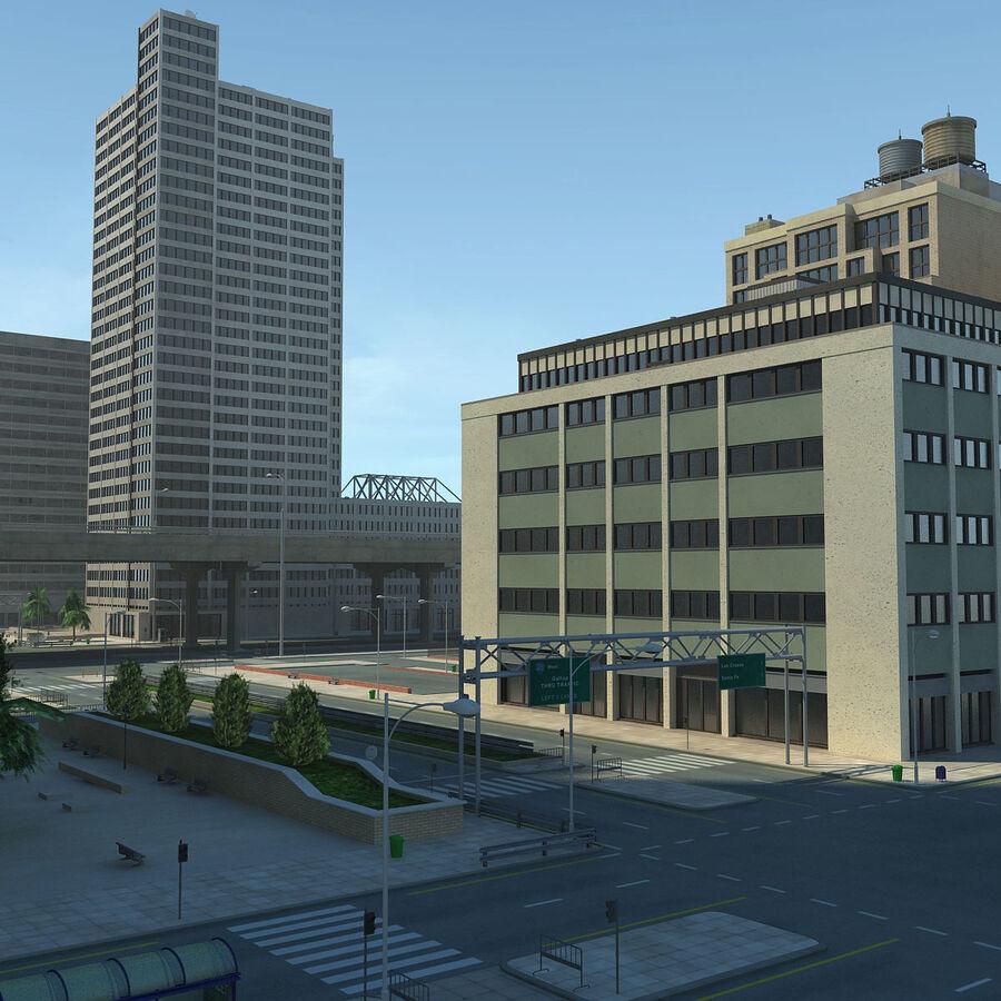 Город HD Городской пейзаж с шоссе royalty-free 3d model - Preview no. 7