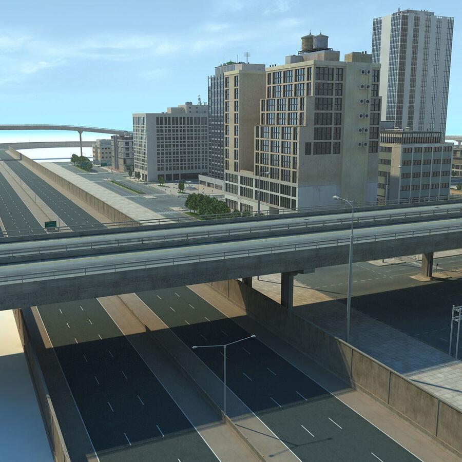 Город HD Городской пейзаж с шоссе royalty-free 3d model - Preview no. 16
