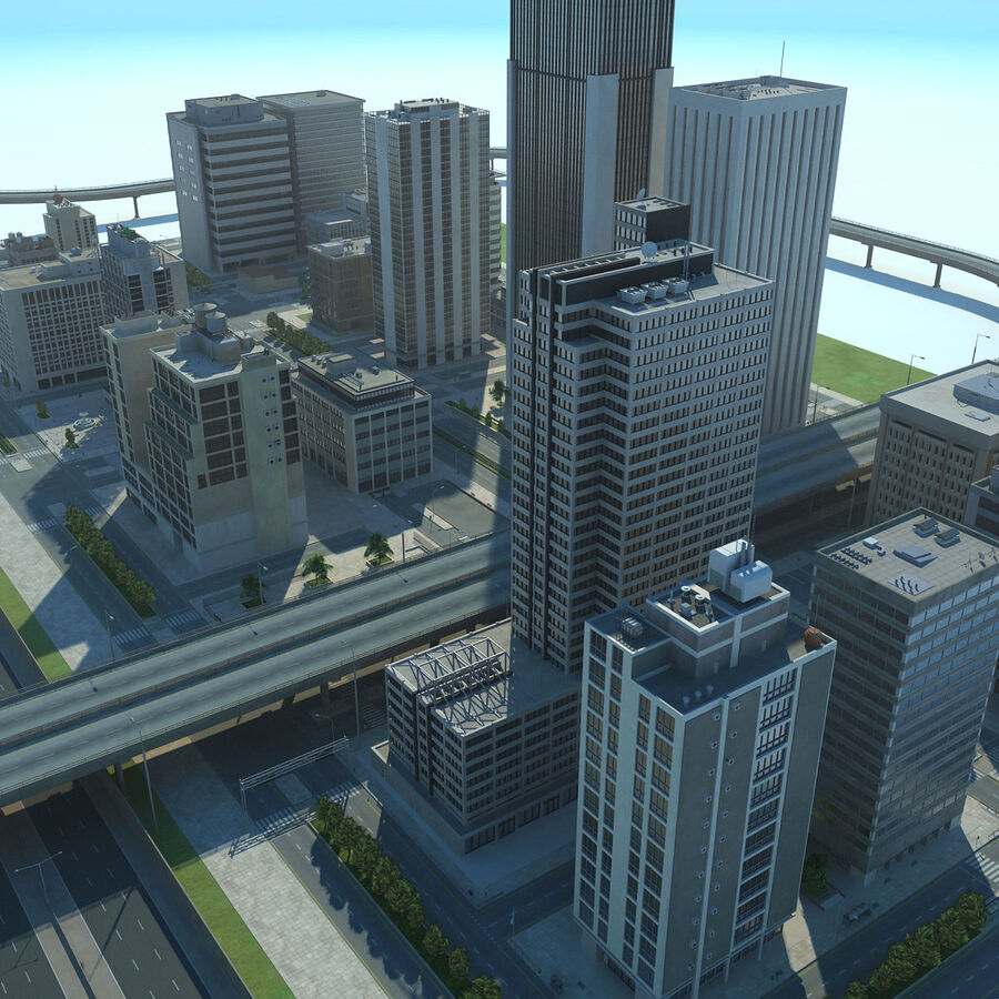 Город HD Городской пейзаж с шоссе royalty-free 3d model - Preview no. 3