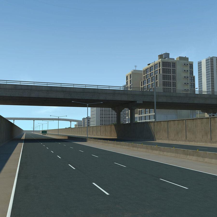 Город HD Городской пейзаж с шоссе royalty-free 3d model - Preview no. 13