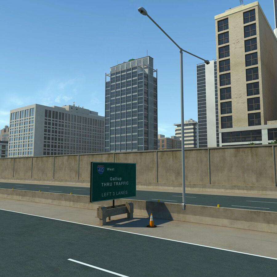 Город HD Городской пейзаж с шоссе royalty-free 3d model - Preview no. 14
