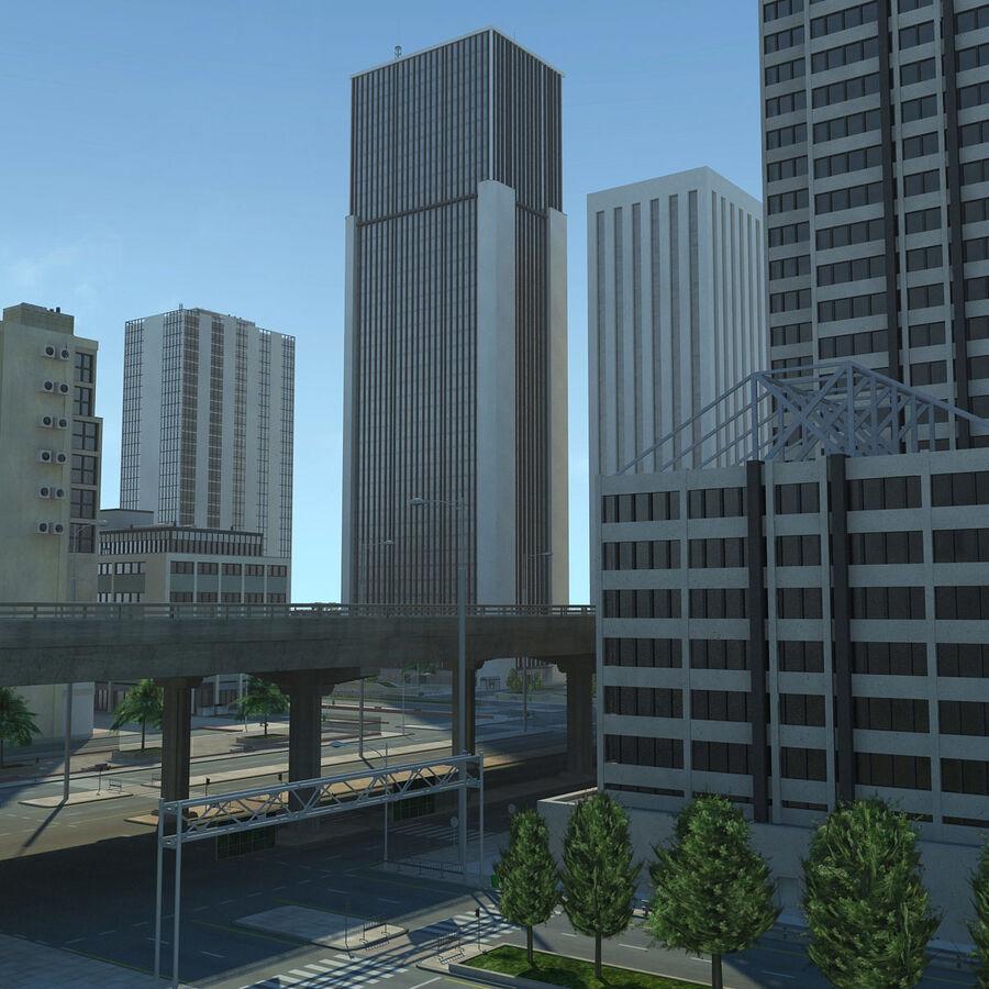 Город HD Городской пейзаж с шоссе royalty-free 3d model - Preview no. 9