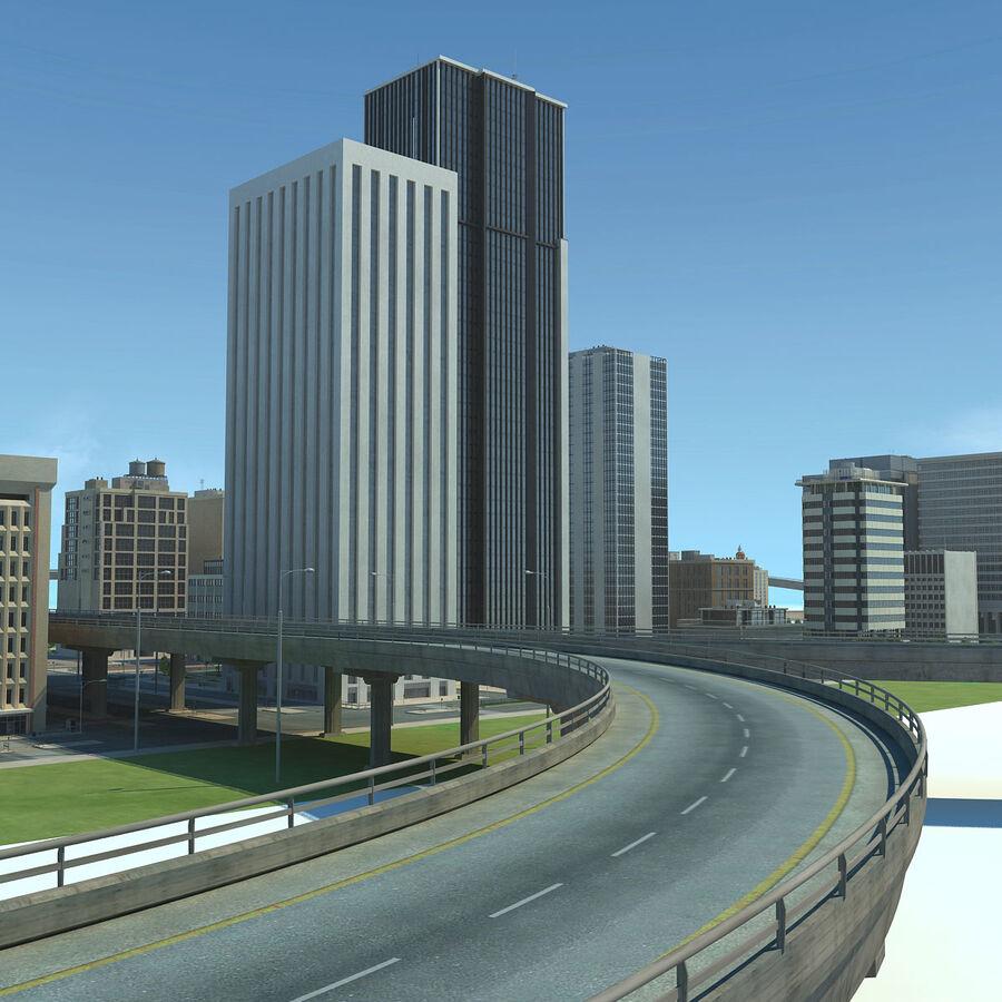 Город HD Городской пейзаж с шоссе royalty-free 3d model - Preview no. 17