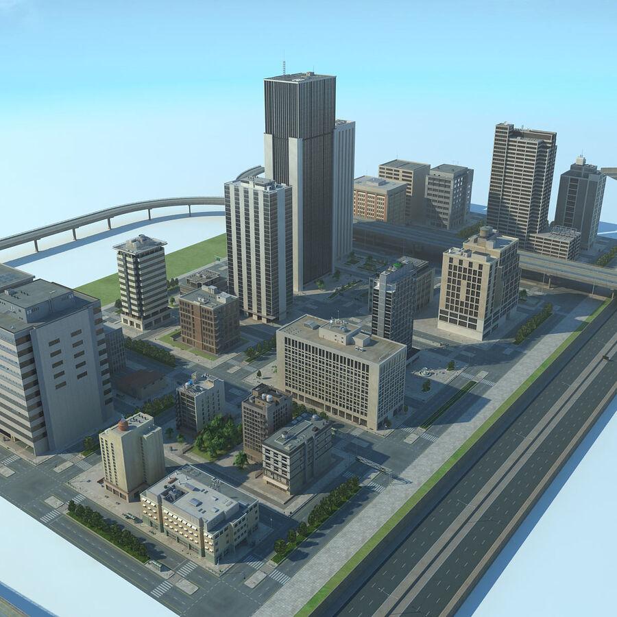 Город HD Городской пейзаж с шоссе royalty-free 3d model - Preview no. 4