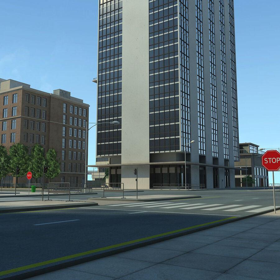 Город HD Городской пейзаж с шоссе royalty-free 3d model - Preview no. 23