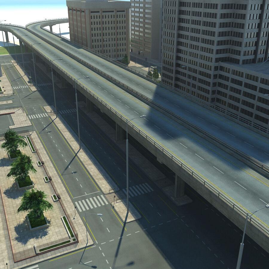 Город HD Городской пейзаж с шоссе royalty-free 3d model - Preview no. 12