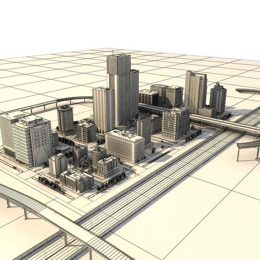 Город HD Городской пейзаж с шоссе royalty-free 3d model - Preview no. 26