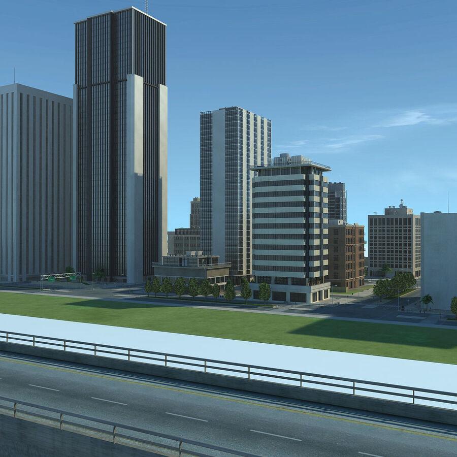 Город HD Городской пейзаж с шоссе royalty-free 3d model - Preview no. 6