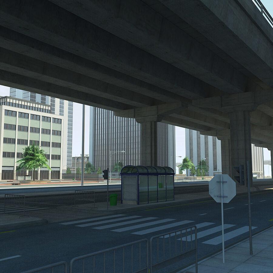 Город HD Городской пейзаж с шоссе royalty-free 3d model - Preview no. 10