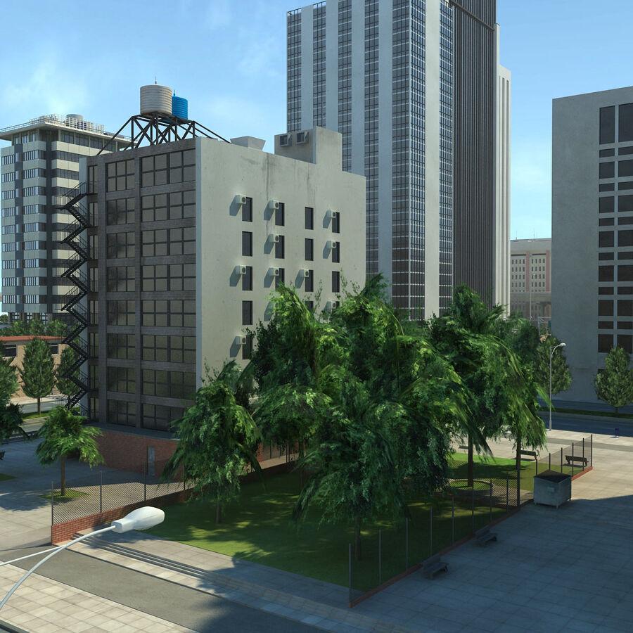 Город HD Городской пейзаж с шоссе royalty-free 3d model - Preview no. 20
