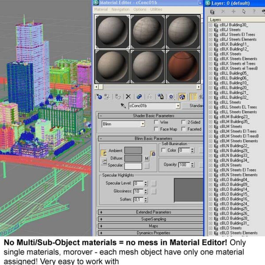 Город HD Городской пейзаж с шоссе royalty-free 3d model - Preview no. 31