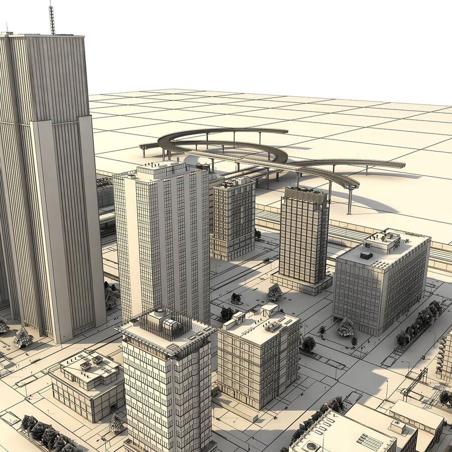 Город HD Городской пейзаж с шоссе royalty-free 3d model - Preview no. 29