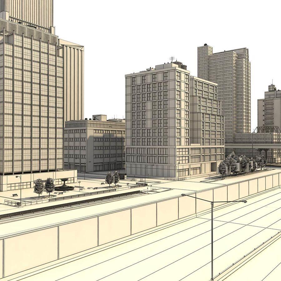 Город HD Городской пейзаж с шоссе royalty-free 3d model - Preview no. 30