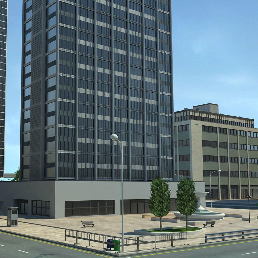 Город HD Городской пейзаж с шоссе royalty-free 3d model - Preview no. 19