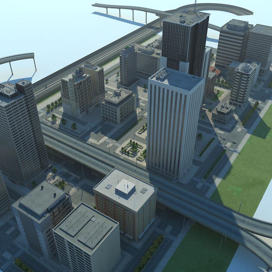 Город HD Городской пейзаж с шоссе royalty-free 3d model - Preview no. 5