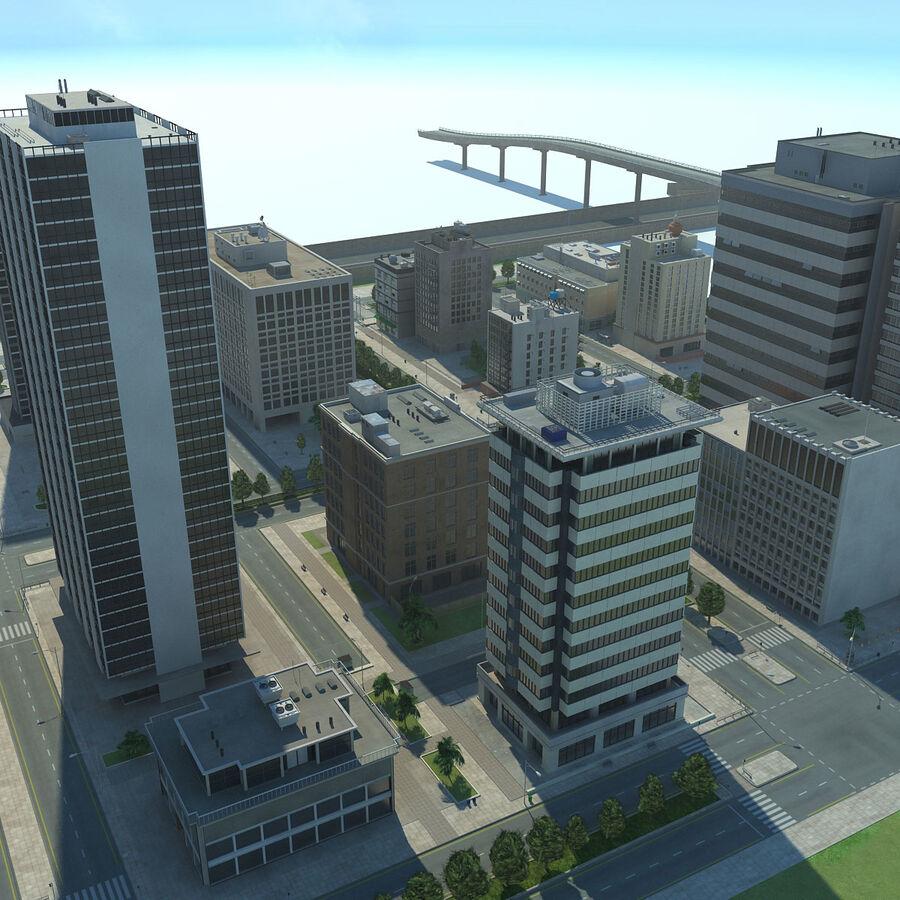 Город HD Городской пейзаж с шоссе royalty-free 3d model - Preview no. 18