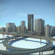Город HD Городской пейзаж с шоссе 3d model