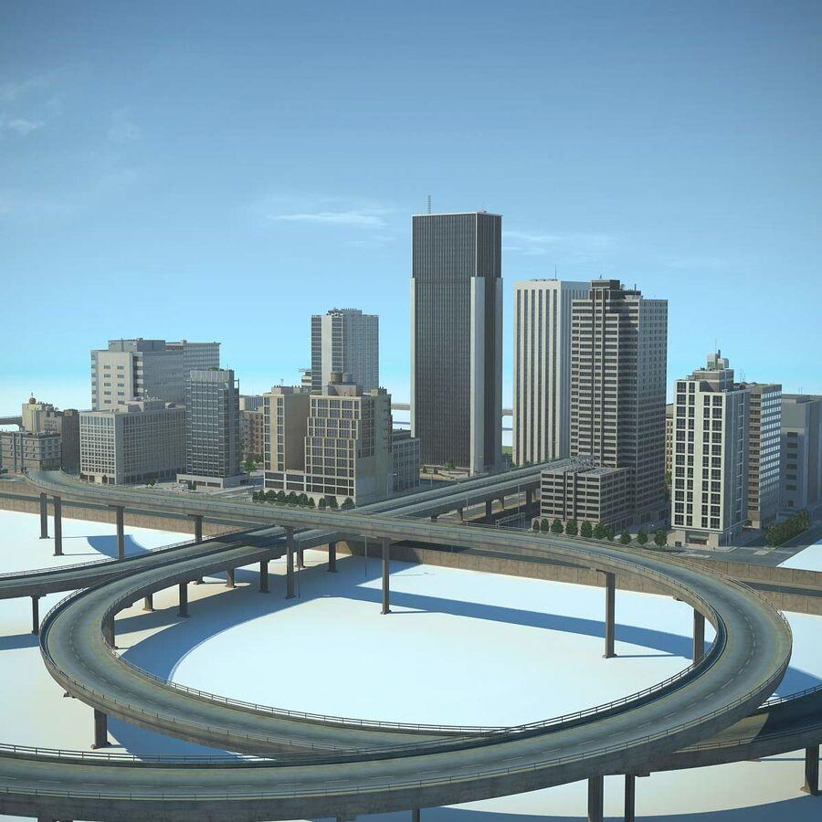 Город HD Городской пейзаж с шоссе royalty-free 3d model - Preview no. 1