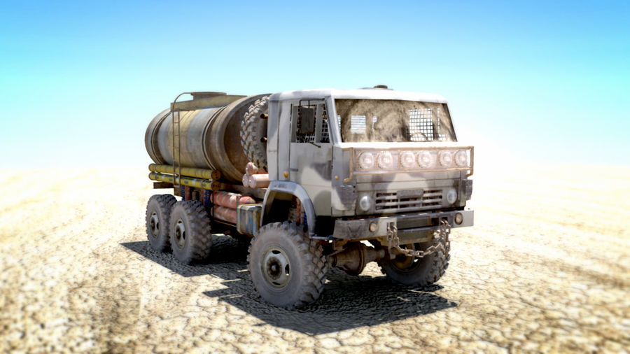 OLD Kamaz Tanker royalty-free 3d model - Preview no. 7