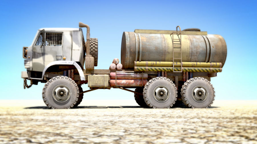 OLD Kamaz Tanker royalty-free 3d model - Preview no. 1