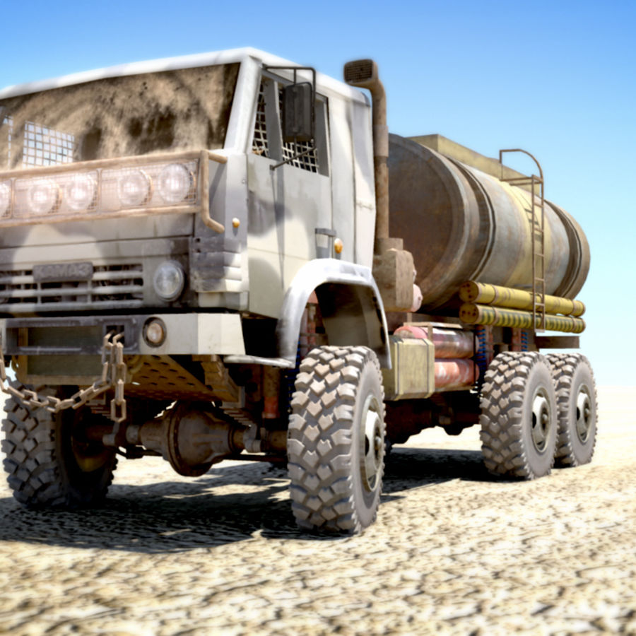 OLD Kamaz Tanker royalty-free 3d model - Preview no. 2