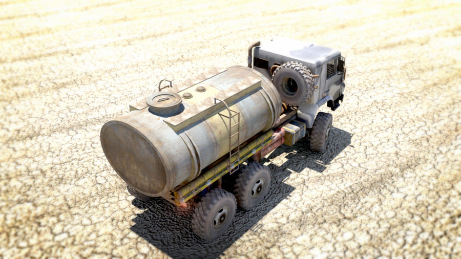 OLD Kamaz Tanker royalty-free 3d model - Preview no. 5