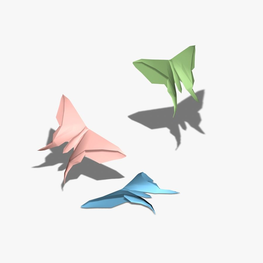 Origami Motyl royalty-free 3d model - Preview no. 4
