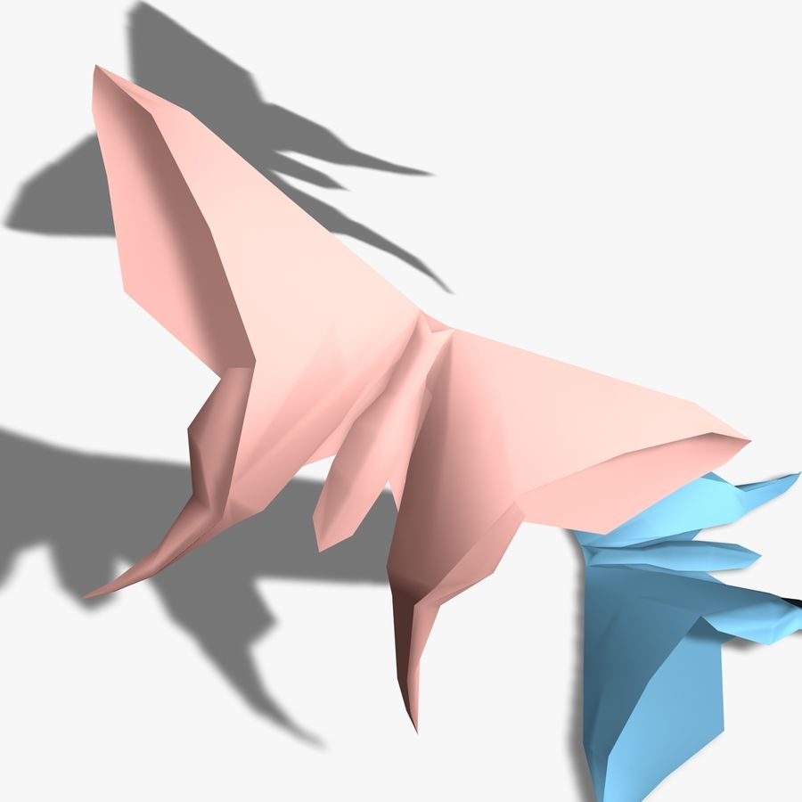 Origami Motyl royalty-free 3d model - Preview no. 5