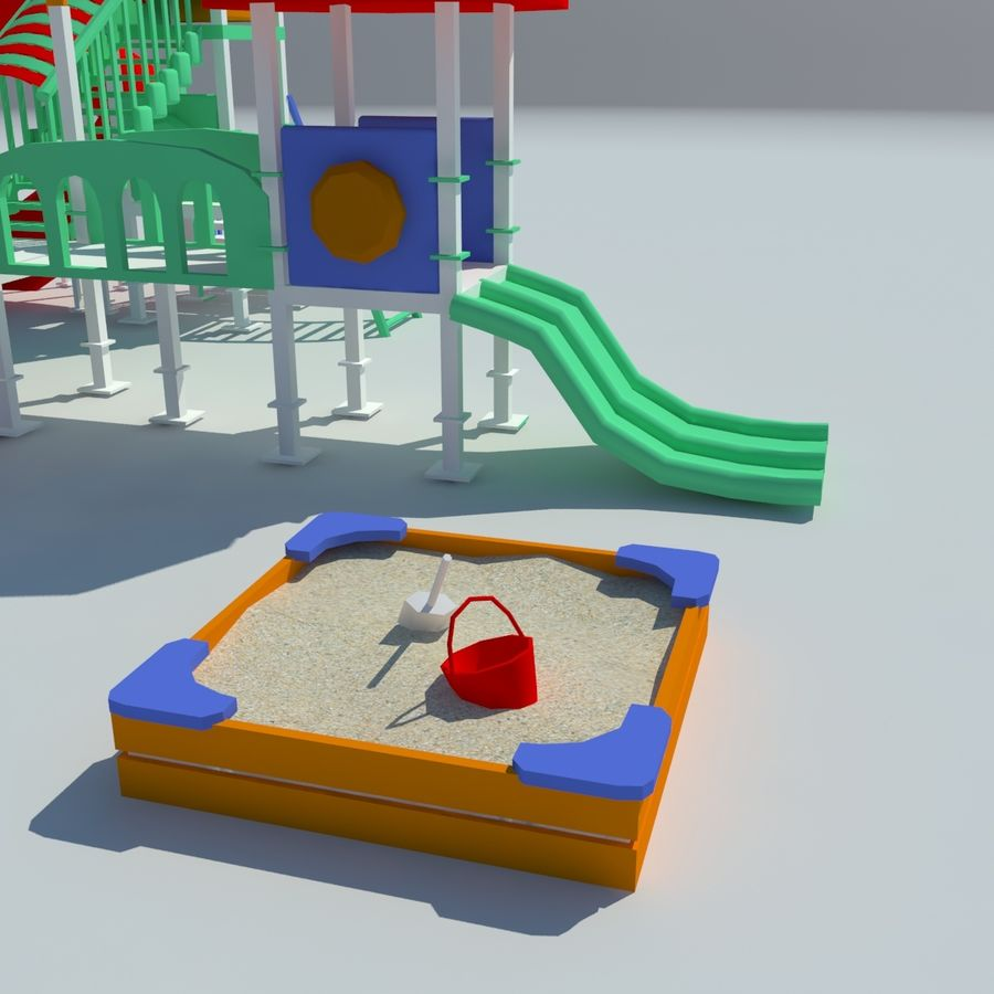 Children playground sandbox low poly royalty-free 3d model - Preview no. 4