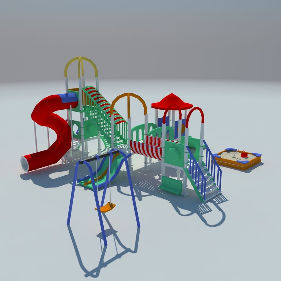 Children playground sandbox low poly royalty-free 3d model - Preview no. 1