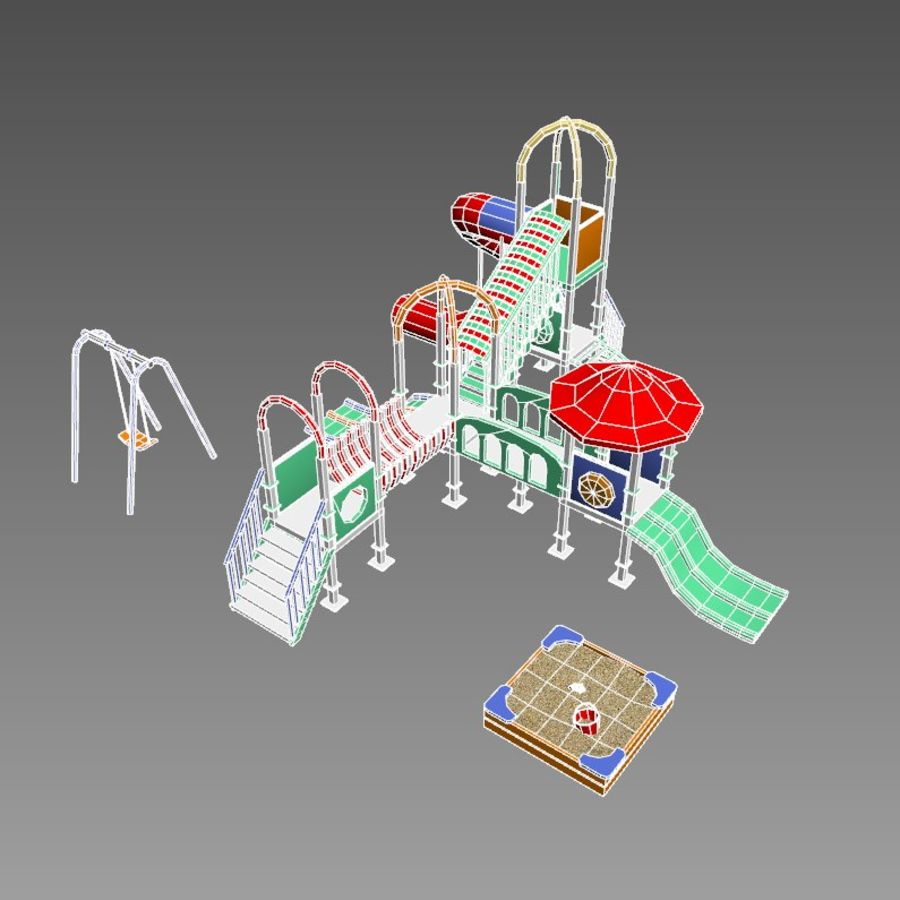 Children playground sandbox low poly royalty-free 3d model - Preview no. 6