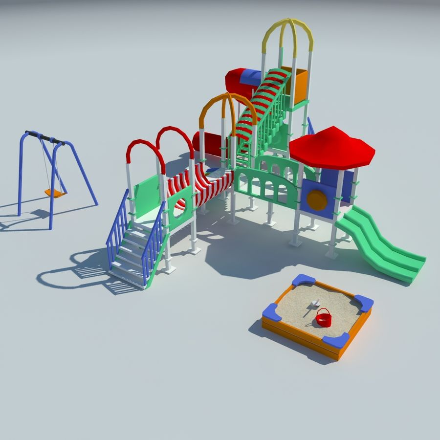 Children playground sandbox low poly royalty-free 3d model - Preview no. 2