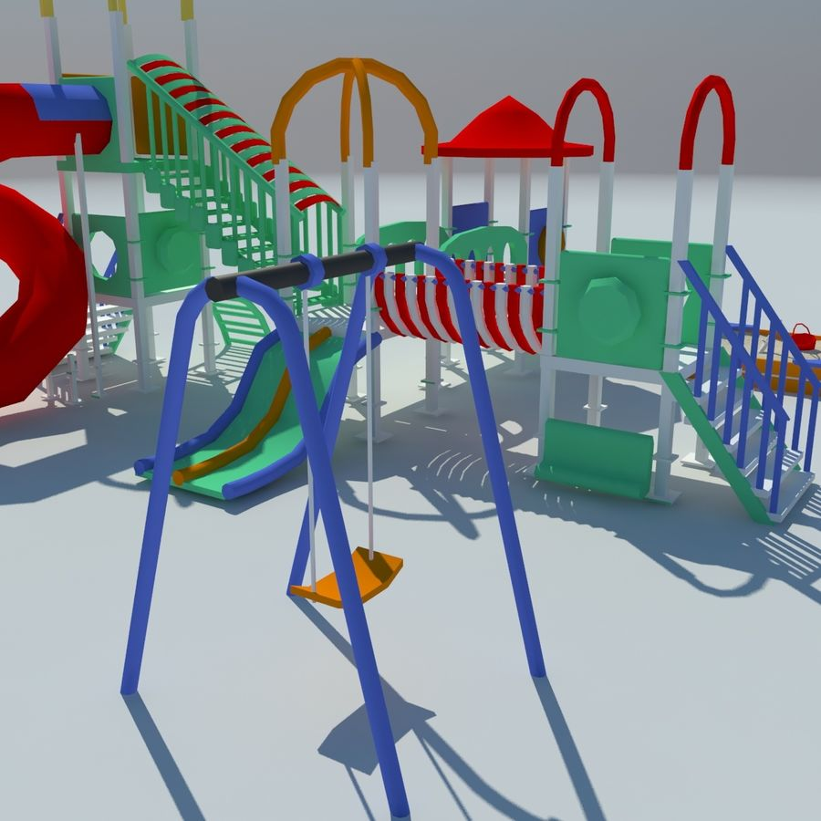 Children playground sandbox low poly royalty-free 3d model - Preview no. 5