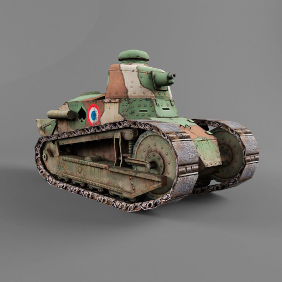 Renault FT royalty-free 3d model - Preview no. 7
