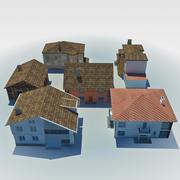 casas de campo de baja poli modelo 3d