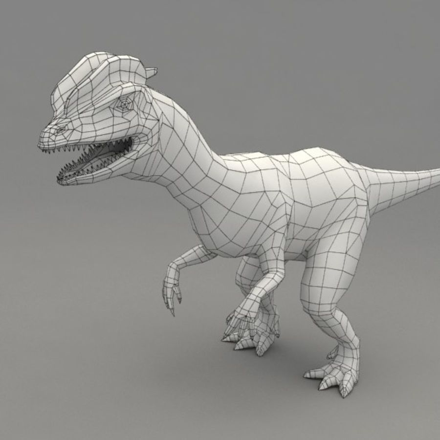 Dilophosaurus rigged royalty-free 3d model - Preview no. 7