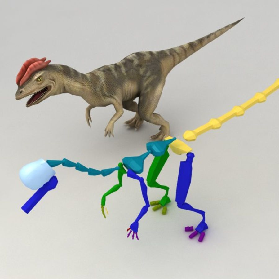 Dilophosaurus rigged royalty-free 3d model - Preview no. 10