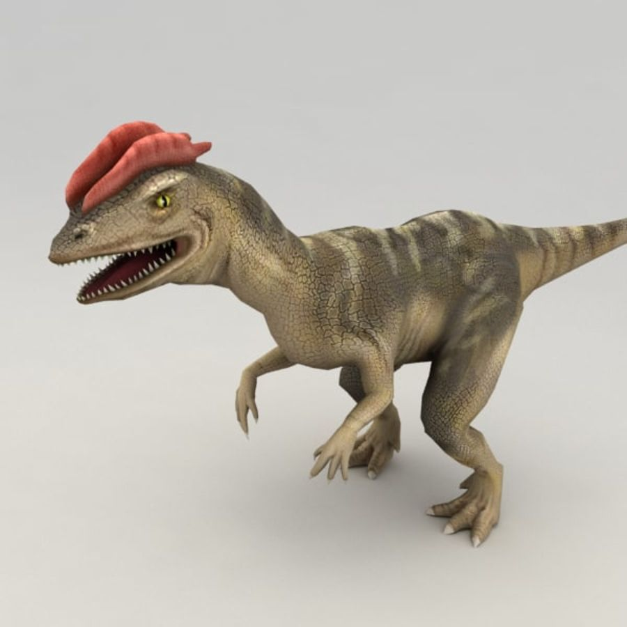 Dilophosaurus rigged royalty-free 3d model - Preview no. 2