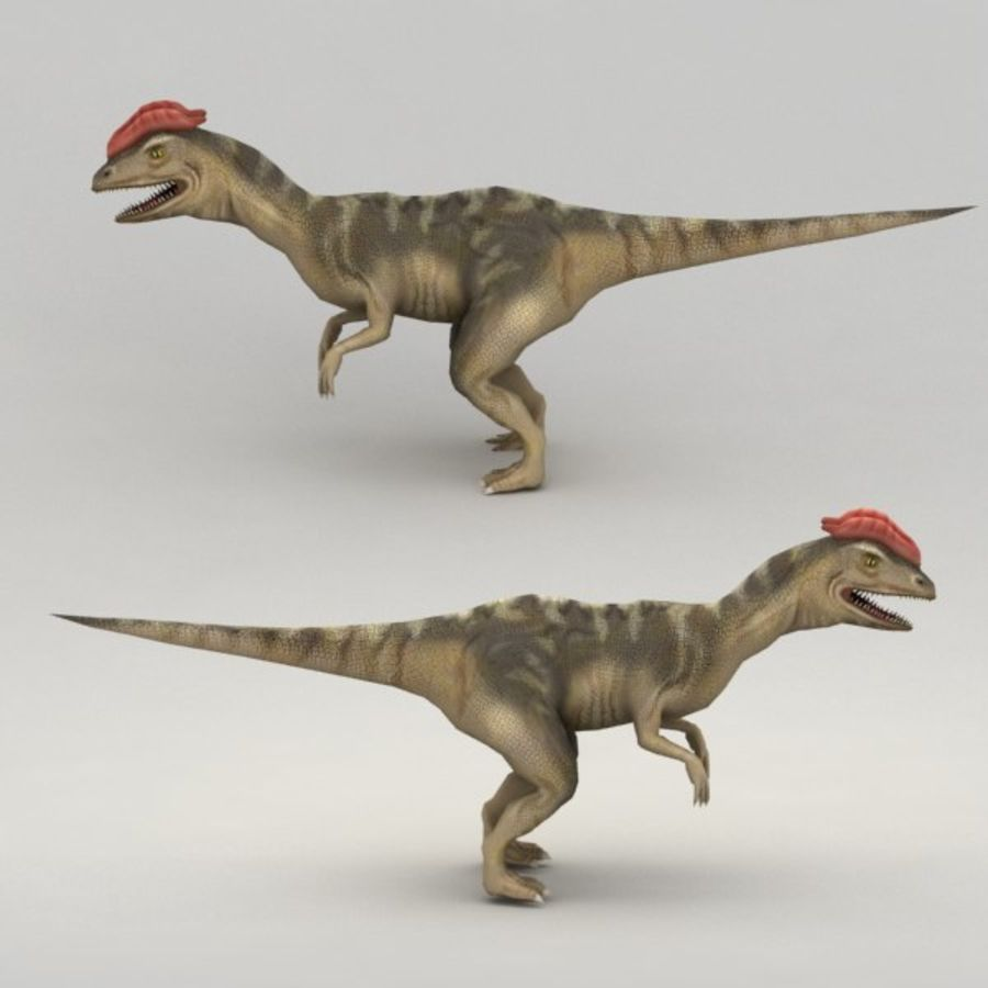 Dilophosaurus rigged royalty-free 3d model - Preview no. 4