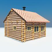 Casa de madera de poli baja sauna. modelo 3d
