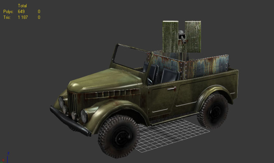 uaz jeep royalty-free 3d model - Preview no. 1