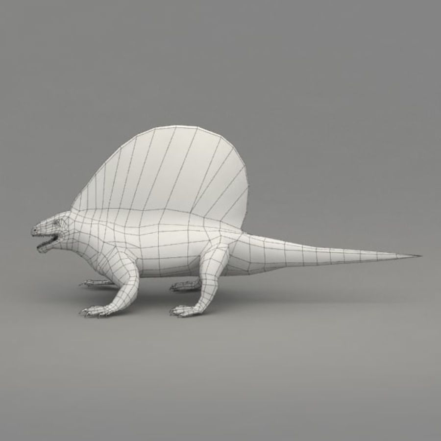 Edaphosaurus rigged royalty-free 3d model - Preview no. 9
