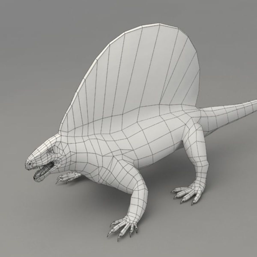 Edaphosaurus rigged royalty-free 3d model - Preview no. 7