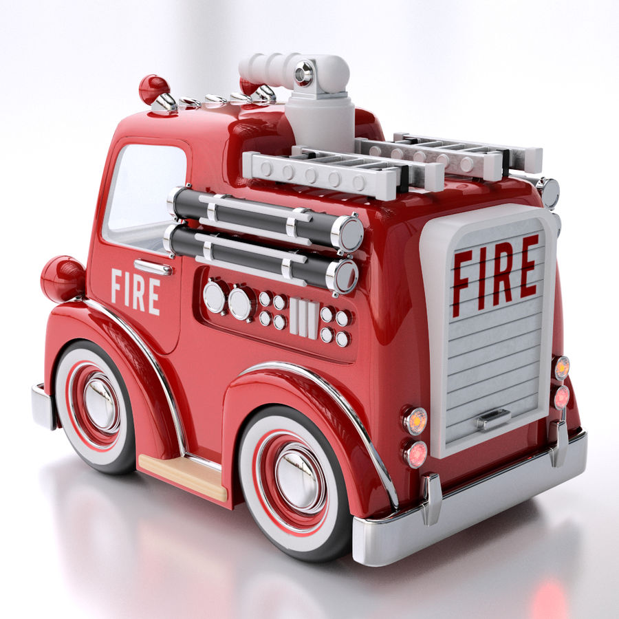 Cartoon Fire Truck royalty-free 3d model - Preview no. 3